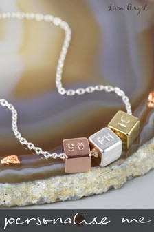 Personalised Silver Mixed Metal Cube Necklace by Lisa Angel