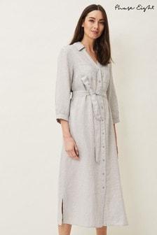 Phase Eight Grey Harlyn Linen Shirt Dress
