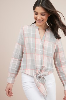 Check Knot Front Shirt