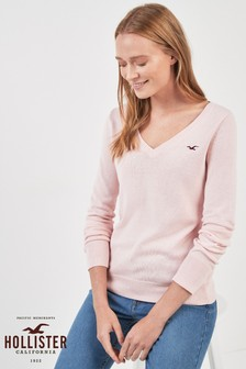 Hollister Pink V Neck Jumper