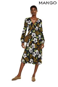 Mango Black Long Sleeve Floral Shirt Dress