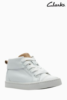 Clarks White Leather City Oasis Lace-Up Toddler High Top
