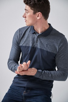 Long Sleeve Blocked Regular Fit Polo