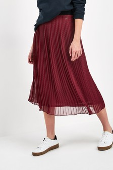 Superdry Red Pleated Midi Skirt