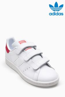 adidas Originals White/Pink Stan Smith Velcro