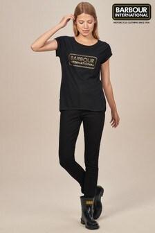 Barbour® International Auden Black With Rose Gold Zip Jean