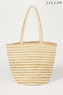 Jigsaw Cream Lae Stripe Jute Bag