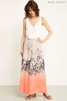 Mint Velvet Orange Meadow Print Maxi Skirt