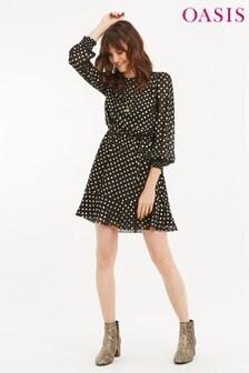 Oasis Black Spot Chiffon Blouse Dress