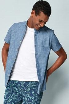 Dżinsowa koszula ze stretchem z krótkim rękawem