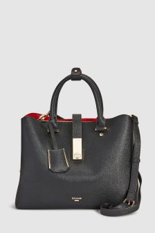 Black Diella Lock Tote Bag