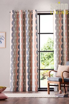 Scion Yoki Geo Lined Eyelet Curtains