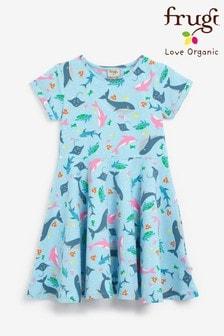 Frugi Organic Skater Dress - Blue Whales