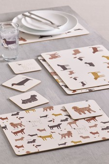 Set of 4 Dog Placemats And Coasters