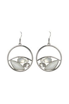 And White Stone Effect Circle Drop Earrings