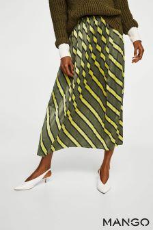 Mango Khaki And Yellow Stripe Skirt