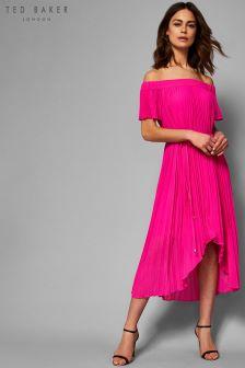 Ted Baker Melli Pink Pleat Off Shoulder Dip Hem Dress