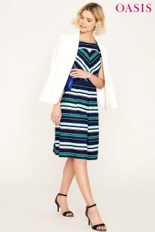 Oasis Multi Napoli Stripe Skater Dress
