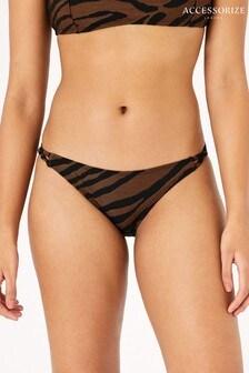 Accessorize Orange Tiger Print Strappy Bikini Briefs