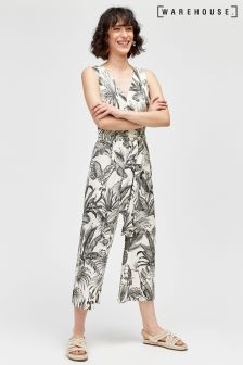 Warehouse White Base Jungle Print Jumpsuit