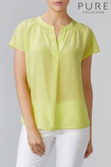 Pure Collection Green Silk Open Neck Blouse