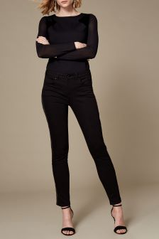Karen Millen Black Sequin Side Stripe Jean