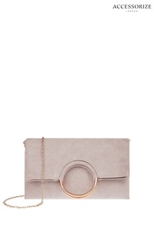 Accessorize Mink Melissa Ring Detail Foldover Clutch Bag
