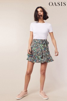 Oasis Natural Ditsy Tiered Skirt
