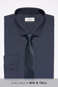 Dot Print Shirt With Tie Set