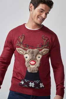 Reindeer Light Up Christmas Crew Neck Jumper