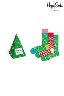 Happy Socks Green Socks Three Pack Christmas Gift Box