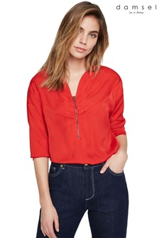 Damsel In A Dress Red Alessia Zip Front Blouse