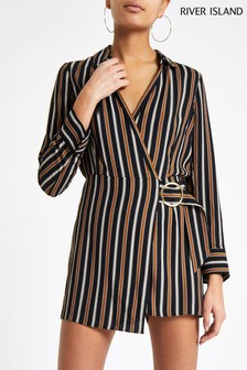 88c678e17f River Island Navy Stripe Shirt Playsuit
