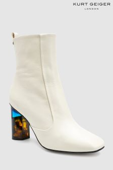Kurt Geiger London White Stride Block Heel Ankle Boot