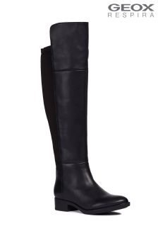Geox Felicity Black Over The Knee Leather Boot