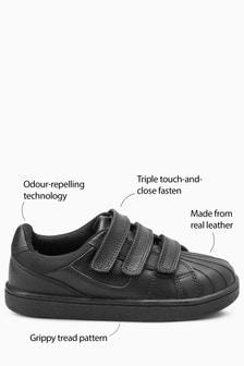 Кожаные кроссовки с тремя липучками (Подростки)