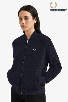 Fred Perry Navy Borg Fleece Bomber Jacket