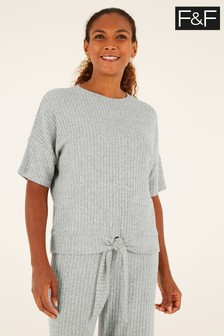 F&F Grey Relaxed Rib Co-ord Top