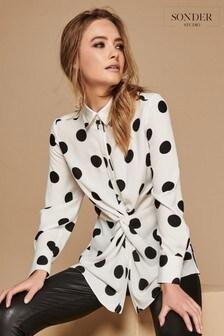 Sonder White Linen Spot Twist Shirt