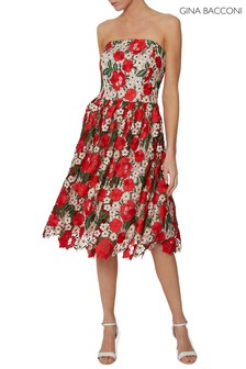 Gina Bacconi Red Katri Guipure Dress