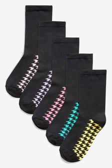 Houndstooth Bright Footbed Ankle Socks Five Pack
