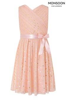 Monsoon Mabel Pink Spot Wrap Dress
