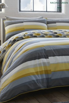 Racing Green Flint Abstract Stripe Duvet Cover And Pillowcase Set