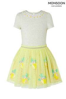 Monsoon Yellow Disco Lemon Dress