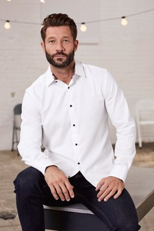 Фактурная рубашка с цветастой отделкой