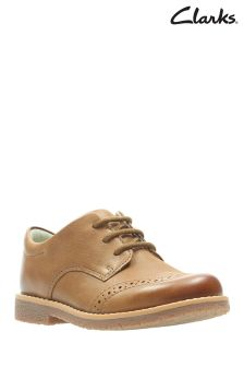 7f63960d3e4 Clarks Tan Leather Comet Heath Brogue Lace-Up Toddler Shoe