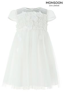Monsoon White Baby Flourish Flower Dress