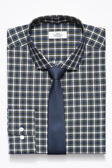 Check Slim Fit Shirt With Tie Set