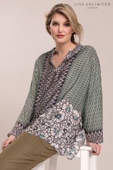 Live Unlimited Green Geo Floral Border Blouse