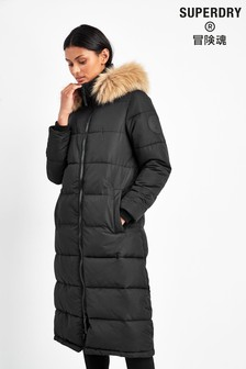 Superdry Black Long Everest Coat